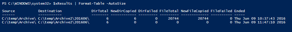 RoboCopy Powershell Object Results